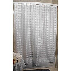 Vision Exchange Checkered Sheer White Shower Curtain