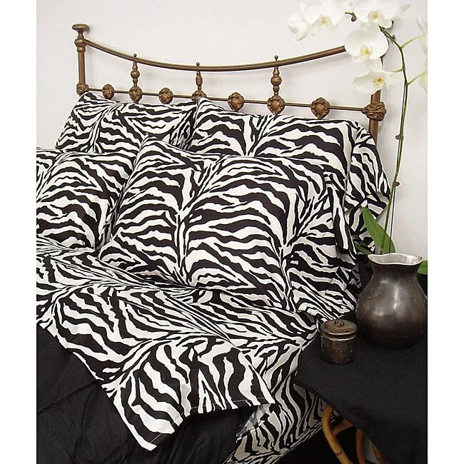 Wild Life Black Zebra 3-piece Twin-size Comforter Set