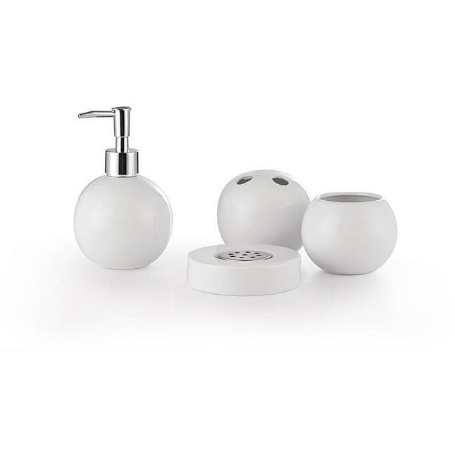 Wray White Bath Accessory 4-piece Set