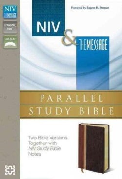 NIV & The Message Parallel Study Bible: Dark Caramel/Black Cherry Italian Duo-Tone (Paperback)
