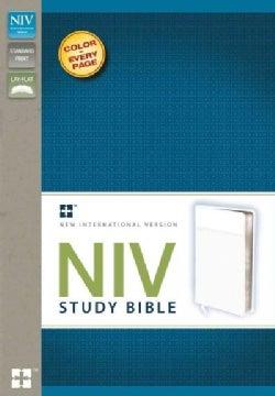 NIV Study Bible: New International Version Italian Duo-Tone, White Study Bible, Ribbon Marker (Paperback)