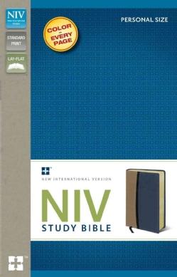 NIV Study Bible: New International Version, Tan / Blue Italian Duo-Tone, Personal Size Study Bible (Paperback)