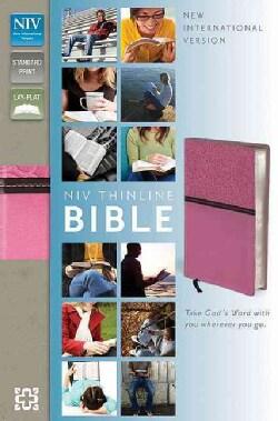Holy Bible: New International Version, Pink / Brown Italian Duo-Tone Thinline, JStandard Print, Lay-Flat (Paperback)