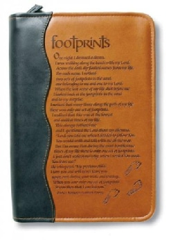 Footprints Brown Extra Large Italian Duo-tone Book & Bible Cover (General merchandise)
