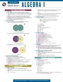 Algebra 1: REA Quick Access Fast Facts Review (Cards)