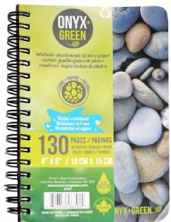 """Onyx & Green Stone Paper Notebook - 4"""" X 6"""": 65 Ruled Sheets, Stone Paper (Notebook / blank book)"""