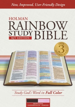 Holy Bible: King James Version, Rainbow Study Bible, Leathertouch, Brown / Pink (Paperback)