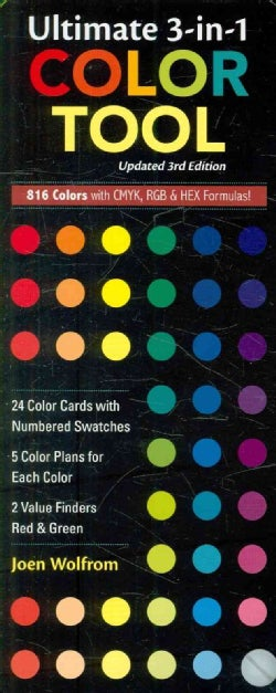 Ultimate 3-in-1 Color Tool: 24 Color Cards With Numbered Swatches,- 5 Color Plans for Each Color, 2 Value Finders Red... (Cards)
