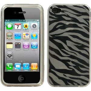 INSTEN T-Clear Zebra Skin Candy Skin Cover for Apple iPhone 4S/ 4