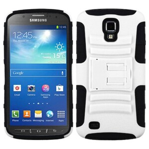 INSTEN White/ Black Phone Case Cover with Stand for i537 Galaxy S4 Active