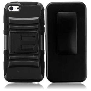INSTEN Black Advanced Armor Dual Layer Hybrid Stand PC/ Soft Silicone Phone Case Cover with Holster for A