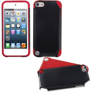 Insten Black/ Red Fusion Hard PC/ Silicone Dual Layer Hybrid Case Cover For Apple iPod Touch 5th/ 6th Gen