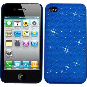 INSTEN Dark Blue Lattice Dazzling Back Phone Case Cover for Apple iPhone 4/ 4S
