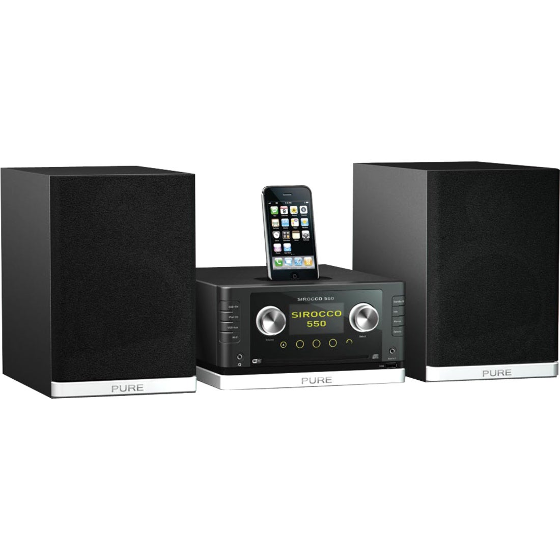 Pure Sirocco 550 Micro Hi-Fi System - 80 W RMS - iPod Supported - Bla