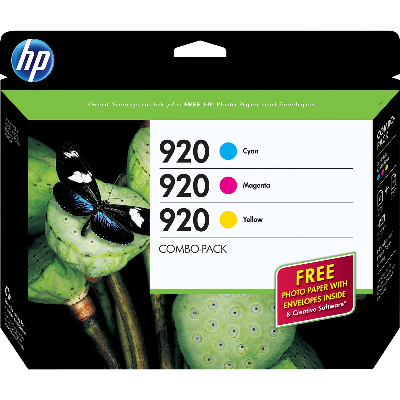 HP 920 Combo-pack Ink Cartridge - Cyan, Magenta, Yellow - Thumbnail 0