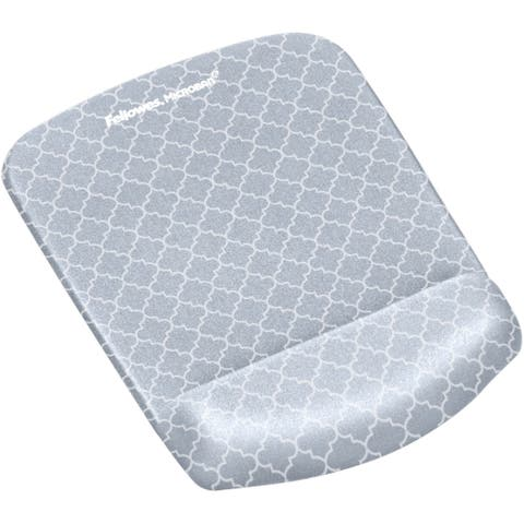 Fellowes PlushTouch Mouse Pad Wrist Rest with Microban - Gray Lattice