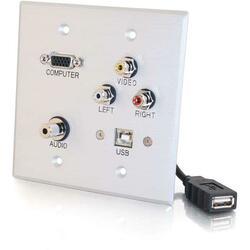 C2G Double Gang HD15 + 3.5mm + RCA A/V + USB Wall Plate - Brushed Alu