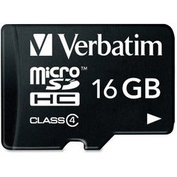 Verbatim 16GB MicroSDHC Memory Card with Adapter, Class 4