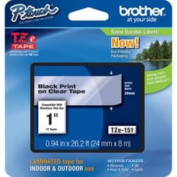 Brother TZ Series One-Inch Black on Clear Lettering Tape|https://ak1.ostkcdn.com/images/products/etilize/images/250/1018839955.jpg?impolicy=medium