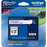 Brother TZ Series Red-on-White Tape Cartridge