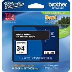 Brother TZ Series White on Black Lettering Tape