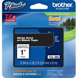 Brother TZ Series One-Inch White on Black Lettering Tape