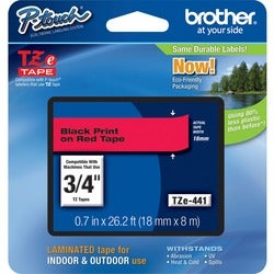 Brother TZ Series Black on Red Lettering Tape