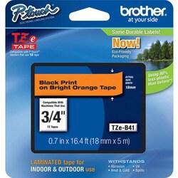 Brother TZE-B41 Black on Fluorescent Orange Lettering Tape - Thumbnail 0