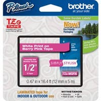 Brother TZe-MQP35 White on Berry Pink Label Tape