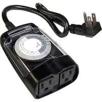 AmerTac Outdoor 2-Outlet Daily Mechanical Timer