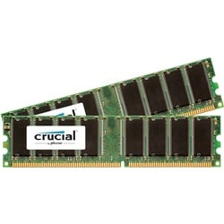 Crucial 2GB Kit (1GBx2), 184-Pin DIMM, DDR PC3200 Memory Module