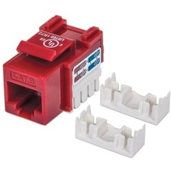 Intellinet Cat6 UTP Punch-down Keystone Jack, Red