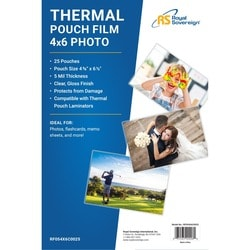 """Royal Sovereign Card Size (4"""" x 6"""") 5mil Thermal Laminating Pouch-25"""