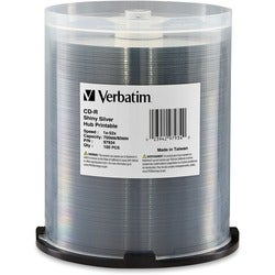 Verbatim CD-R 700MB 52X Shiny Silver Silk Screen Printable, Hub Print