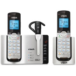 VTech Connect to Cell DS6671-3 DECT 6.0 Cordless Phone - Silver, Blac