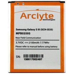 Arclyte Samsung Batt Galaxy S 3