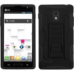 INSTEN Black/ Black Car Stand Phone Case Cover for LG P769 Optimus L9