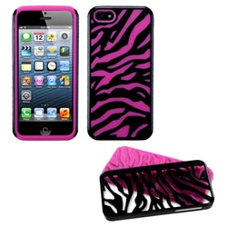 INSTEN Hot Pink/ Black Hybrid Phone Case for Apple iPhone 5/5S/SE