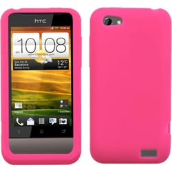 INSTEN Hot Pink Solid Skin Phone Case Cover for HTC One V