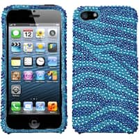 INSTEN Zebra Blue Diamante Protector Phone Case for Apple iPhone 5/ 5S/ SE