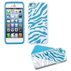 INSTEN Ivory White/ Tropical Teal Zebra Skin Phone Case for Apple iPhone 5/ 5S/ SE