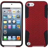 Insten Red/ Black Mesh Astronoot Hard PC/ Silicone Hybrid Rubberized Matte Case Cover For Apple iPod Touch 5th/ 6th Gen