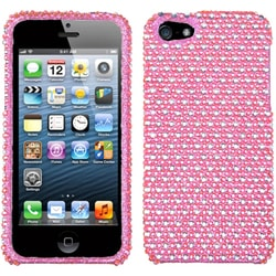 INSTEN Pink/ White Dots Diamante Protector Phone Case for Apple iPhone 5/ 5S/ SE