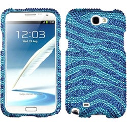INSTEN Blue Zebra Diamante Phone Case Cover for Samsung Galaxy Note 2 II N7100