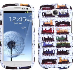 INSTEN White Retro Trains Phone Case Cover for Samsung Galaxy S III/ S3 i9300