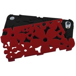 Insten Black/ Red Flowerpower Hard PC/ Silicone Hybrid Rubberized Matte Case Cover For Apple iPod Touch 5th/ 6th Gen