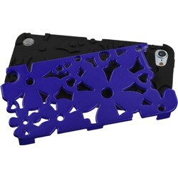 Insten Black/ Dark blue Flowerpower Hard PC/ Silicone Hybrid Rubberized Matte Case Cover For Apple iPod Touch 5th/ 6th Gen
