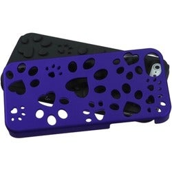 INSTEN Titanium Dark Blue/ Black Dog Paw Phone Case for Apple iPhone 5/ 5S/ SE