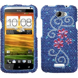 INSTEN Juicy Flower/ Diamante Phone Case Cover for HTC One X One X+