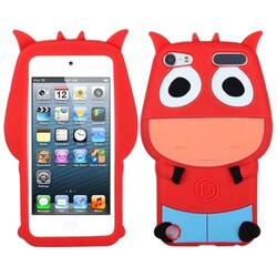 Insten Red/ Light Blue 3D Cow Soft Silicone Skin Rubber Case Cover For Apple iPod Touch 5th/ 6th Gen